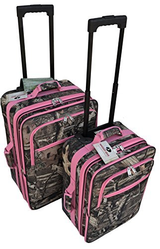 Explorer Mossy Oak with Pink Trim -Realtree Like- Hunting Camo Heavy Duty Luggage with Pulling Handles 2 Wheels 20 Inch 24 Inch 2 Pcs Set with Side Handlers by Explorer