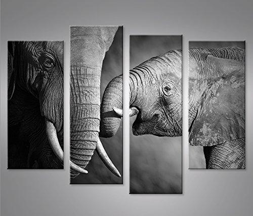 Cuadro en Lienzo Elefanten V2 4er Elefantenbaby Impresión sobre lienzo - Formato...