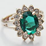 Celebrity Jewellery Princess Kate Middleton Style Ring Emeralde Green Jewelry Simulated Royal Sapphire Size S Ring for Women Free Velvet Gift Box 434
