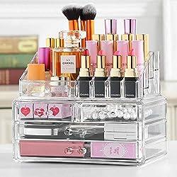 Dawoo Organisateur de maquillage Cosmetic Organizer Drawers Etui de rangement pour maquillage transparent (4 tiroirs)