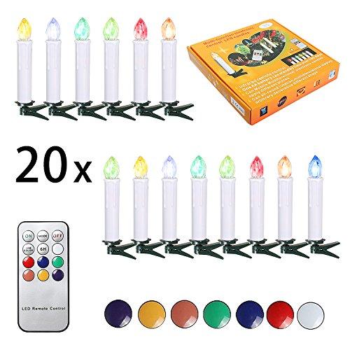 SunJas 20er Weihnachten Kerzen RGB, kabellose Weihnachtskerzen mit Fernbedienung, Weihnachtsbeleuchtung, LED Kerzen in 3 verscheidene Blinkeffekt,  für Weihnachtsbaum