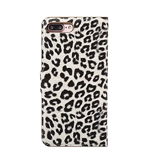 JIALUN-Telefon Fall für iPhone 7 Plus, Leopard Texture Magnetische Schnalle Horzontal Flip Stand Case Cover mit Card Slots ( Color : Gray ) Gray