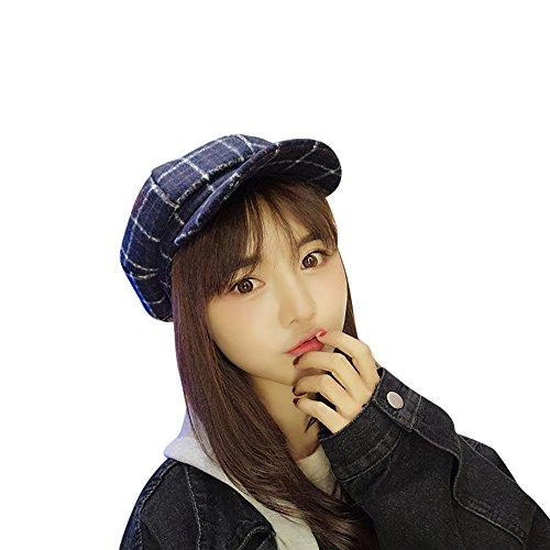 Damen Baskenmütze Beret Cap Knit Skull Cap Wolle Plaid Barett Hüte Kappe Weave Crochet Mütze Beanie Winter Crochet Hat (Navy) (Crochet Beret)