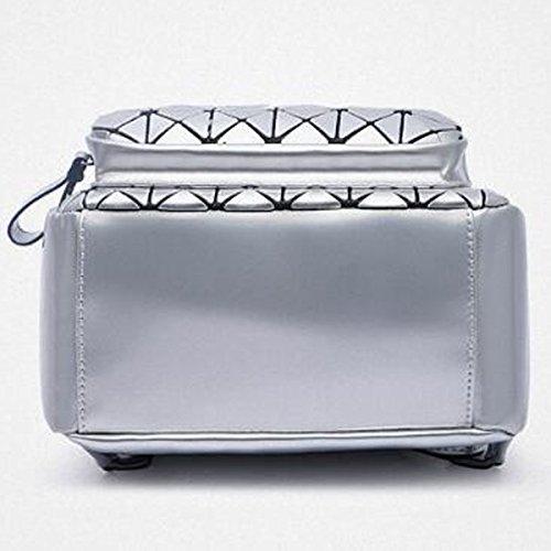 Spalla Collegio Cuoio Del Diamante Dell'unità Di Elaborazione Signore Di Moda Zaino Borsa Zaino Per Le Donne Multicolor Silver