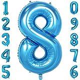 40-Zoll 0-9 in Blau Nummer Foil Ballons Helium Zahlenballon Luftballon Riesenzahl Party Hochzeit Kindergeburtstag Geburtstag Nummer 8