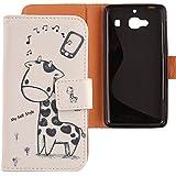 Lankashi PU Flip Funda De Carcasa Cuero Case Cover Piel Para Xiaomi Redmi 2 Hongmi 2 Giraffe Design