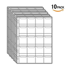 Stamp Pocket Pages – 12 Pocket/Page Plastic Coin Holders Stamp Currency Protector Coin Collecting Supplies 10 Sheets…