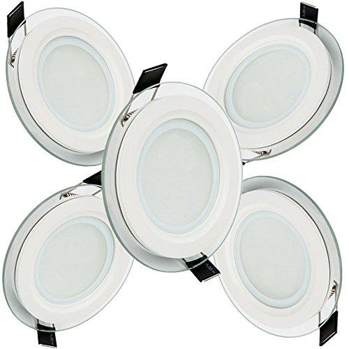 5 x 9W LED Panel Licht Warm Weiß Runde Deckeneinbau Glas Einbau AC85-265V 3 Arten Von Stilen Erhältlich - Art-glas-panel
