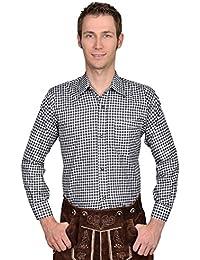 Herren Trachtenhemd Uni oder kariert, mit Stickerei, viele verschiedene Modelle Gr. S-5XL