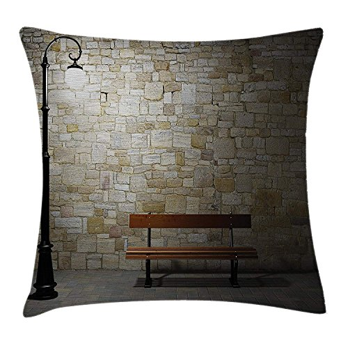 beautiful& Street Decor Pillow case Modern Avenue at Dark Night with a Open Lamp and Bench and Stone Wall Behind Image Throw Pillow Covers 20x20 Inches (Vibe Street Halloween)