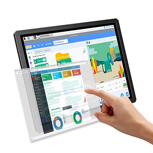 Raspberry PI Touch Screen Monitor, UPERFECT Tragbarer Monitor IPS Display 12,3 Zoll Bildschirm 1600x1200 Auflösung 4:3 Seitenverhältnis Dual Eingebaute Lautsprecher für Raspberry Pi 4 3 B+ DIY Projekt