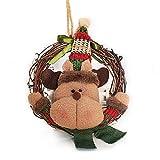 JUNMAONO 1 Stück Weihnachtsverzierung Elch Weihnachten Rattankreis Rattan Ring Anhänger Garland Holzfarbe Hotel Einkaufszentrum Anhänger Heiligabend Geschenk (Elch)