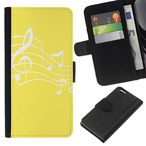 Graphic4You Musik Noten Muster Design Brieftasche Leder Hülle Case Schutzhülle für Apple iPhone 5C (Braun) Gelb