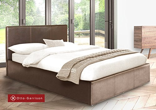 Ottoman King Size Storage Bed Upholstered in Faux Leather, 5ft, Brown