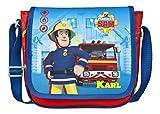 Kindergartentasche mit Namen | Personalisieren & Bedrucken | Motiv Feuerwehrmann Sam | Umhängetasche für Kinder Jungen blau | inkl. NAMENSDRUCK