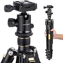 Trípode Completo - K&F Concept TM2324 Trípode Flexible para Cámara con Rótula de Bola Placa Rápida Liberación Trípode Compacto para Canon Nikon Sony Panasonic GoPro Fujifilm Kodak Cámara DSLR y DV, Oro