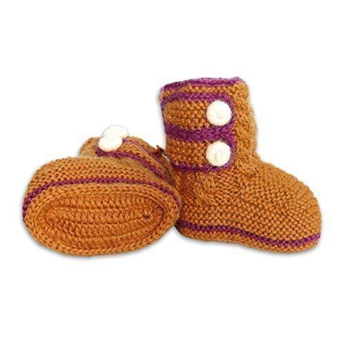 Mama Ocllo - Baby-Boots, Fairer Handel, 100% Baby Alpaka Wolle (orange, one size), Handmade, Handgestrickt