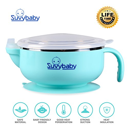 SuvyBaby Baby Weaning Bowls Spill Proof Suction Toddler Bowls Feeding Perfect To Go Storage FDA Approved BPA Free, Best Bowl 51M7y5gbXkL