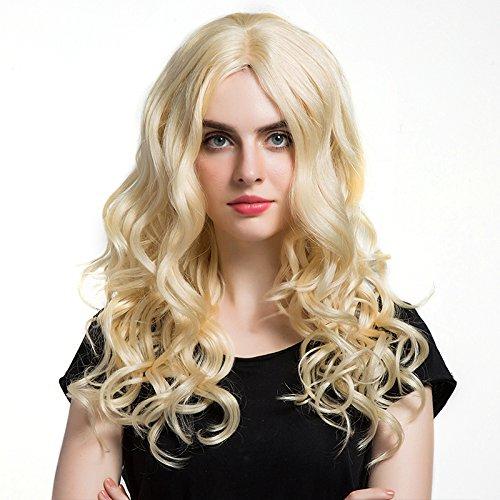 Mufly Damen Perücke Echthaar Lang Gelockt Welle Wigs Locken Cosplay Partei Kostüm Perücke Human Hair Wig (Große 3 Kostüme Person)
