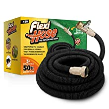 Flexi Hose Lightweight Expandable Garden Hose, Ultimate No-Kink Flexibility - Extra Strength with 3/4 Inch Solid Brass Fittings & Double Latex Core, Rot, Crack, Leak Resistant (50ft)