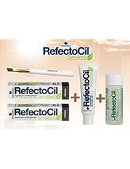Refectocil Sensitive SET Augenbrauen/Wimpernfarbe 2 x schwarz - Entwickler & Farbfleckenentferner