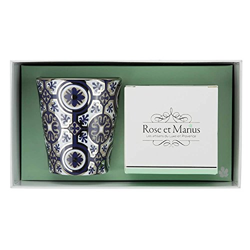 Bougie parfumée Rose et Marius casteu Bleu Platine avec Maquis Corse/Gobelet réutilisable Bleu avec platine véritable et Corse Heather – Bougie parfumée – 200 g