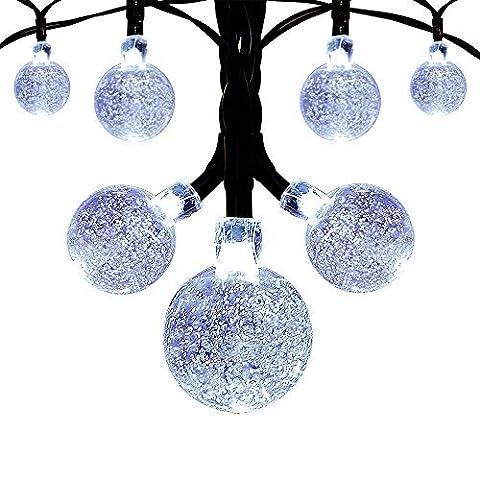 Innoo Tech Solar Garden Lights String, Outdoor Christmas Fairy Lights 19.7ft 30 Led White Crystal Ball Decoration for Patio ,Garden ,Wedding,Party,Bedroom