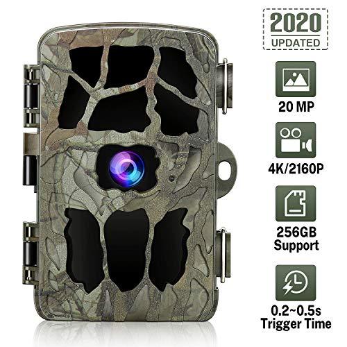 GRM 20 MP Wildkamera, 4 K Spielkamera, Jagdkamera mit Nachtsicht, wasserdichte Sicherheitskamera 0,2 s Trigger-Zeit-Bewegungsaktivierung Unterst Tzung 256G TF-Karte