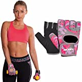 Bionix Weight Lifting Gloves For Women - Pink Neoprene Gel Padded Ladies Fitness Exercise Gym Fingerless Grip Straps