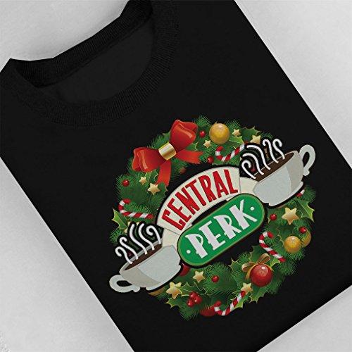 Friends Central Perk Christmas Wreath Women's Sweatshirt Black
