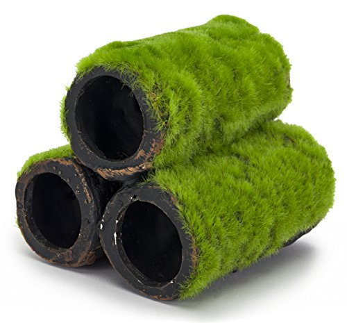 Penn-Plax Hideaway Pipes Aquarium Decoration Realistic Look with Green Moss Like Texture | Fun for fish and adds a to… 1
