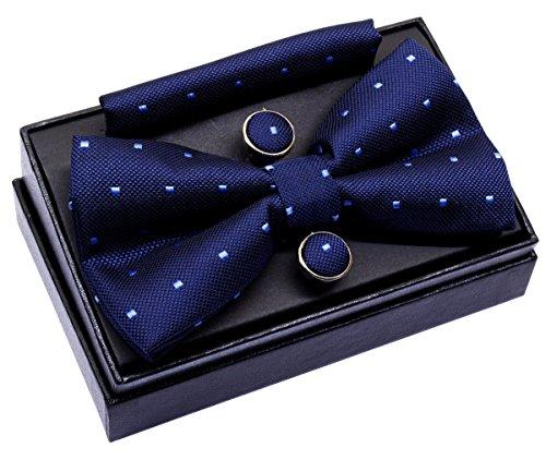 Pajarita Retreez pequeña, de lunares, preanudada, 12 cm, con pañuelo cuadrado de bolsillo y gemelos Azul azul marino Talla única