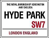 Die Royal Borough Kensington und Chelsea Hyde Park London England Strassenschild road sign Retro Shabby Chic Vintage Style Gerahmter Druck Vintage Stil Bild Wandschild Schild (A4)