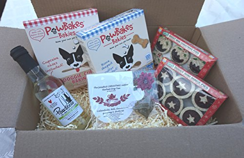 CHRISTMAS DOG TEA PARTY HAMPER XMAS PUDDINGS MINCE PIES DOG TEA PAWSECCO WINE AND COOKIE AND CUPCAKE BAKING KITS