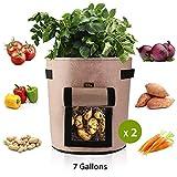 Ulikey 2Pcs Sacs de Culture pour Pommes de Terre, Sac de Legumes, Tissu Non-tissé Sac de Plantation de Pommes de Terre à Fenêtre (2pcs Kaki, 7 Gallons)