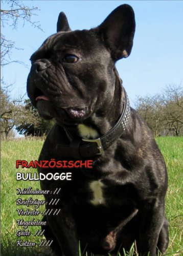 INDIGOS UG - Türschild FunSchild - SE503 DIN A4 ACHTUNG Hund Franz. Bulldogge - für Käfig, Zwinger, Haustier, Tür, Tier, Aquarium - aus hochwertigem Alu-Dibond beschriftet sehr stabil
