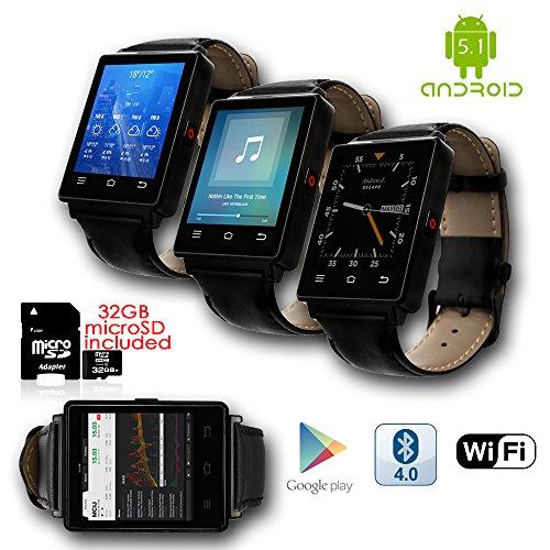 inDigi® GSM entsperrt 3G Smartwatch & Phone + Android 5.1+ WiFi + GPS + Herzfrequenz & Schrittzähler + Bluetooth Headset (Gsm Unlocked Quadband-handy)