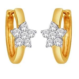 D'damas 18k Yellow Gold Diamond Stud Earrings