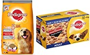 Pedigree Adult Dry Dog Food, (High Protein Variant) Chicken, Egg & Rice, 3kg Pack & Pedigree Adult Wet