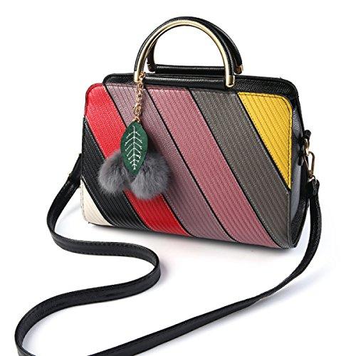 Messenger Schultertasche Handtasche Schlägt Farbe Gestreifte Handtasche black