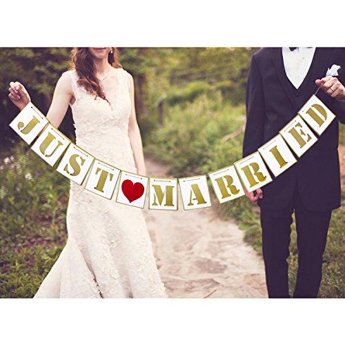Unomor Just Married Hochzeit Banner mit Foto Automat Requisiten Schilder für Hochzeit Dekoration und Brautdusche Junggesellinnenabschied
