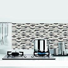 Smart Adhesivo de 10,25cm x 10,25cmcon diseño de azulejos, para pared, hecho de vinilo, rectangular (10 unidades)