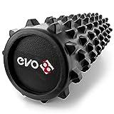 Rouleau Yoga Evo en mousse EVA pour les muscles et la rééducation - Rouleau Evo 28 en mousse pour masser les tissus en profondeur - Rouleau de massage pour muscles, dos et jambes, Black 12x45