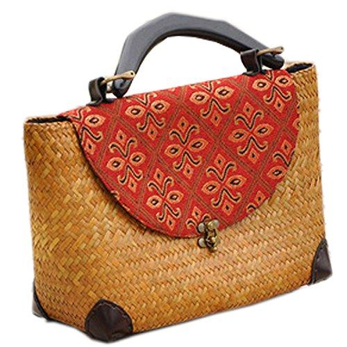 broderie à la main en tricot / armure toile de sac à main de bambou rotin paille / sacoche / Sacs portés épaule / Sacs portés main jaune