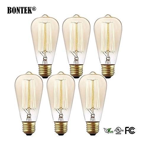 6Cage Écureuil Vintage Edison ampoules transparentes 320lumens blanc chaud 220V goutte d'eau Base E27–Variateur d'intensité 40W Ampoules à incandescence