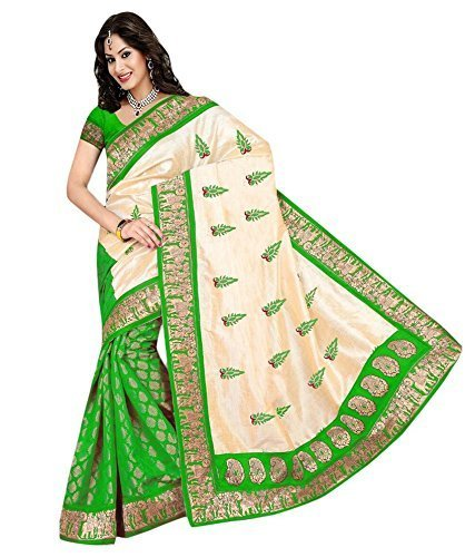 Saree (Impartus Lifestyle Women\'s Green Colored Cotton Silk Saree_Free Size with Unstitched Blouse Piece_)