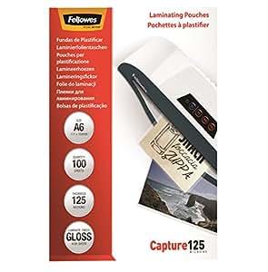Fellowes  5307201 - Pack de 100 Pochettes de plastification brillantes Capture 125 microns A6   - Transparent