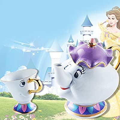Dessin animé Beauty and the Beast théières Tasses Mrs. Potts Chip Tea Pot de fleurs et ensemble de tasse