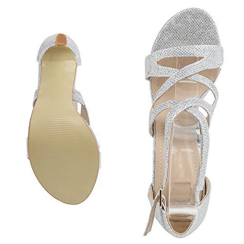 napoli-fashion Damen Riemchensandaletten Glitzer Sandaletten Stiletto High Heels Metallic Party Schuhe Elegante Abendschuhe Hochzeit Jennika Silber Shiny