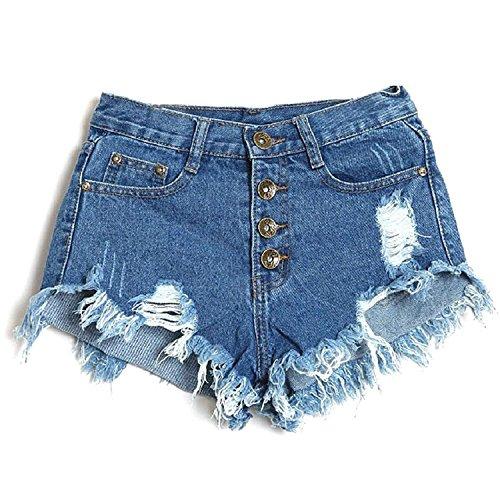 Minetom Sexy Damen Denim Jeans Shorts Hot Pants Low Waist Side Straps Lochjeans Kurzschlüsse ( Dunkelblau EU L )